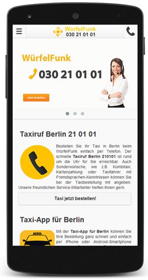 Neue mobile Taxi-Website für den WürfelFunk 21 01 01