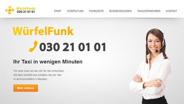 Würfelfunk 030 21 01 01, Ihr Taxiruf in Berlin